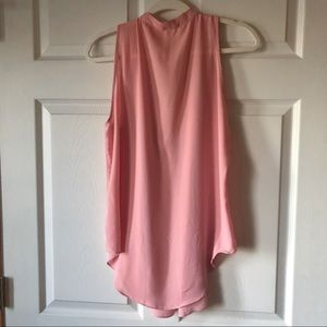 Olivaceous Tops - Pink Deep V Sleeveless Blouse